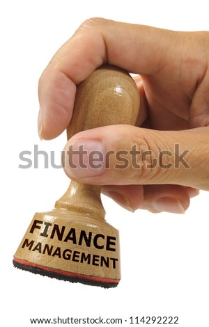 rubber stamp marked with finance management