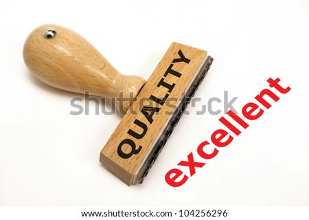 rubber stamp marked with quality excellent - stock photo
