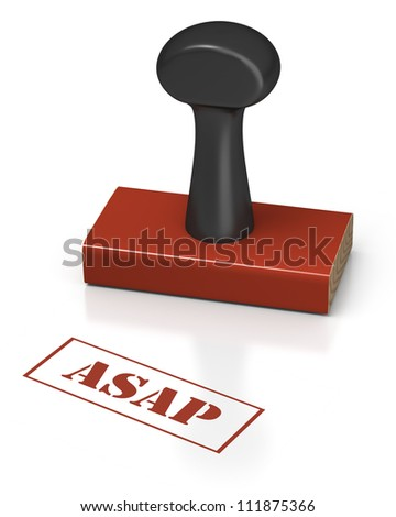 Rubber stamp on a white background with message of ASAP - stock photo