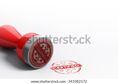 Rubber stamp seal over paper background with the word certified printed on it. Concept image for illustration of certification - stock photo