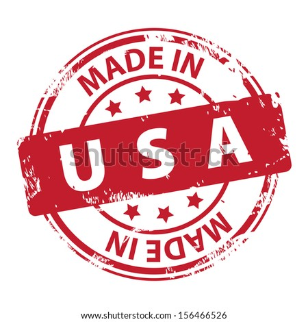 Rubber stamp with text Made in USA icon isolated on white background. illustration - stock photo
