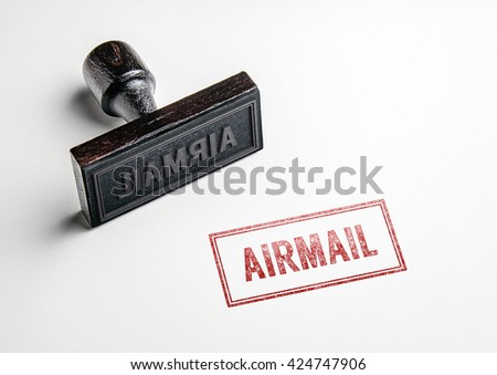 Rubber stamping that says 'Airmail'. - stock photo