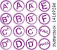 rubber stamps for school grades - stock photo