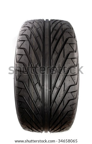 Rubber tire isolated over white background - stock photo