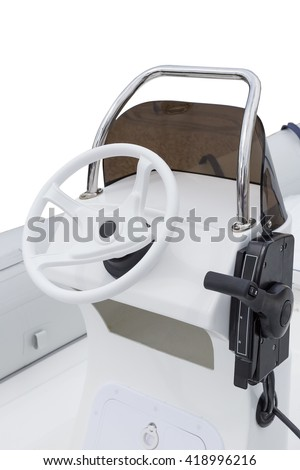 Rubber yacht control wheel and navigation implement. Vertical shot without people