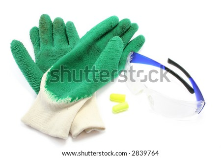 rubberised gloves, earplugs and safety glasses. Colourful and sensible - stock photo