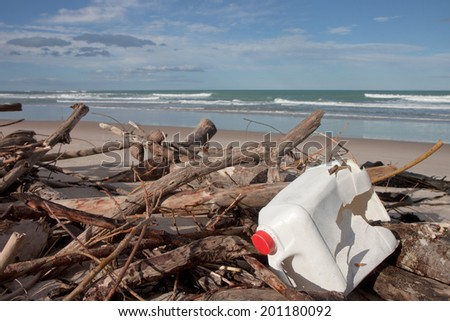 rubbish on a beach  - stock photo