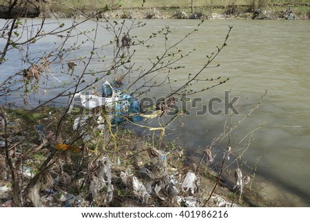 Rubbish on the river bank