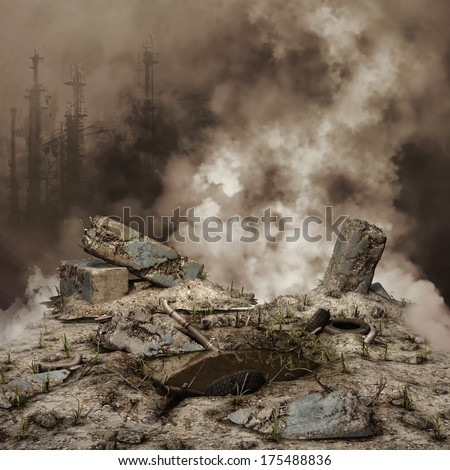 Rubble and smoke with a destroyed city in the background - stock photo