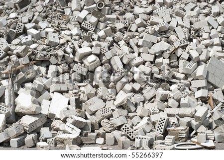 Rubble of Masonry at a Construction Site - stock photo