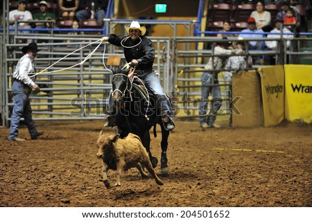 Rubbock, Texas, USA, March. 31, 2012: Annual ABC Rodeo in Rubbock, Texas, in the heart of Panhandle region in Texas - stock photo