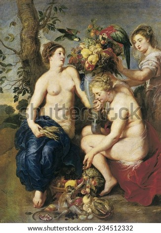 RUBENS, Peter Paul (1577-1640), Ceres and Two Nymphs with a Cornucopia, 1620, The animals and fruits were executed by Snyders, Baroque art, ; Flemish art, Oil on canvas,