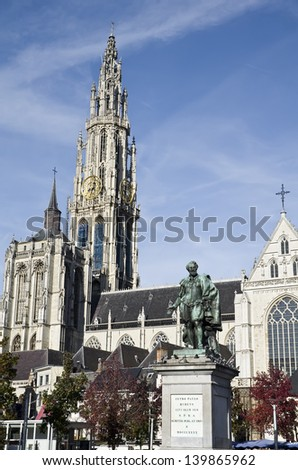Rubens statue in front of gothic cathedral in Antwerp, Belgium - stock photo