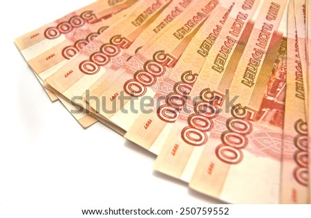rubles banknotes on white background - stock photo