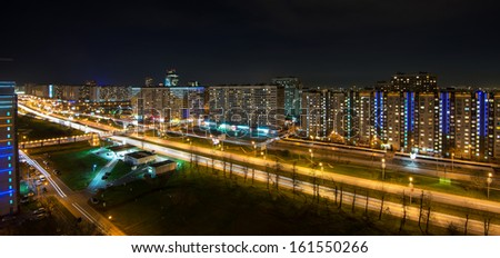 Rublevskoe highway at night, Moscow - stock photo