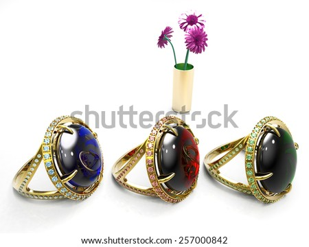 ruby ,emerald and sapphire rings - stock photo