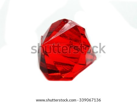 ruby gem stones crystals isolated on white background - stock photo
