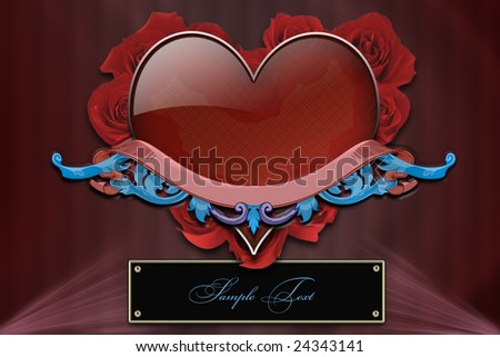 Ruby heart, background, wallpaper - stock photo