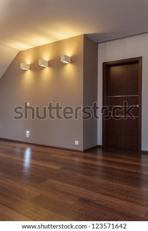 Ruby house - Empty contemporary room in a grey colours - stock photo