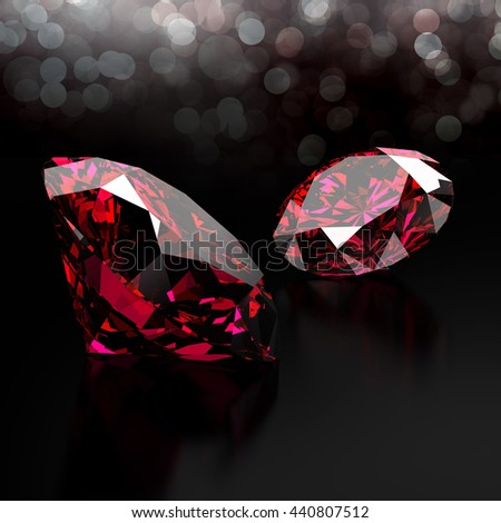 Ruby isolated on black background with light bokeh, 3d illustration.