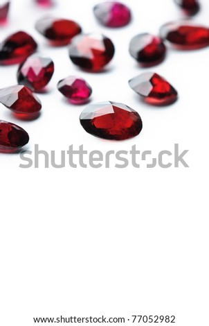 ruby jewel, precious gemstone isolated against a white background - stock photo