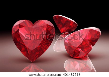 ruby on white background (high resolution 3D image) - stock photo