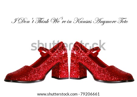 Ruby Red Slippers with red glitter isolated on white with room for your text