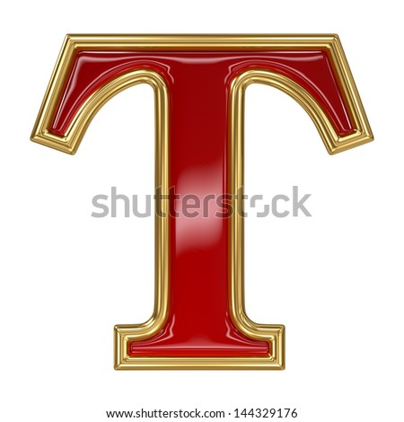 Ruby red with golden outline alphabet letter symbol - T - stock photo
