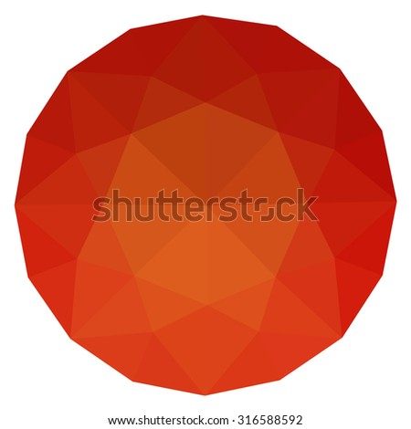 Ruby rose siam round gem isolated on white background. Red polygonal sphere with gradient color low poly triangles.