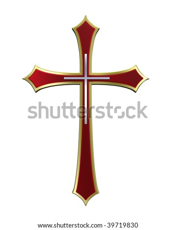 Ruby with gold frame Christian cross isolated on white. Computer generated 3D photo rendering. - stock photo
