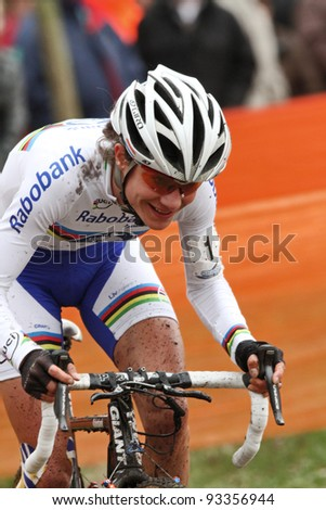 RUCPHEN, NB NETHERLANDS - JANUARY 21: Marianne Vos in action during  Cyclocross GP Skidome, January 21 2012 in Rucphen, NB The Netherlands