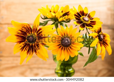 Rudbeckia flowers backgrounds. Summer flowers bouquet on wood background with shallow depth of field useful as greeting card or birthday card. - stock photo