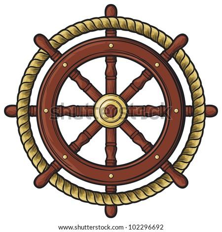 rudder design (badge, emblem) - stock photo
