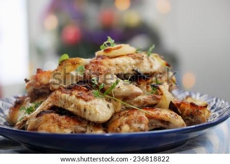 Ruddy baked chicken wings on a plate