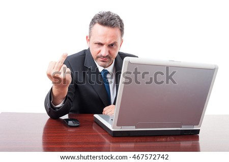 Rude business person doing obscene gesture with middle finger on white studio background