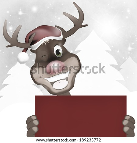 Rudolph Red Nose Happy Christmas - stock photo