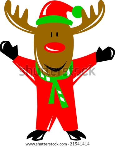 Rudolph the Red Nosed Reindeer in santa suit - stock photo