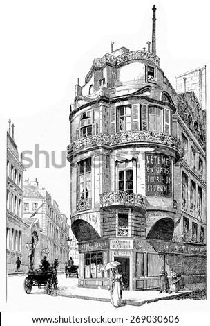 Rue La Vrilliere, vintage engraved illustration. Paris - Auguste VITU  1890. - stock photo