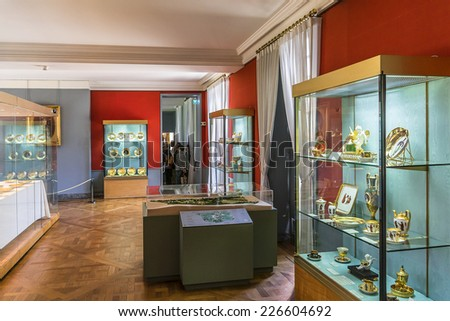 RUEIL-MALMAISON, FRANCE - MAY 15, 2014: Interior of Chateau de Malmaison (not far from Paris). Chateau de Malmaison (architects Parcier and Fontaine) purchased by Josephine Bonaparte in 1799.