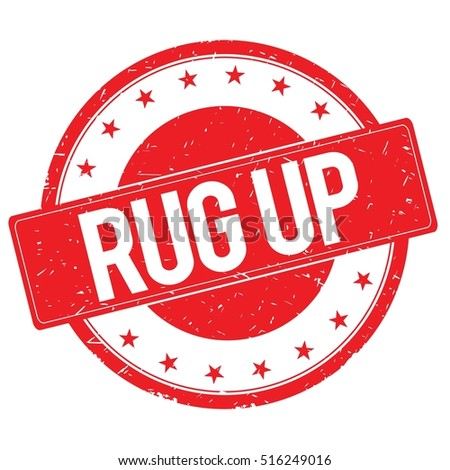 RUG UP Stamp Sign Text Word Logo Red.