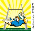Rugby player diving to score between the post - stock vector