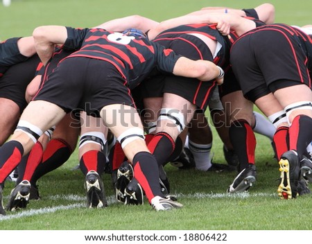 rugby scrum - stock photo