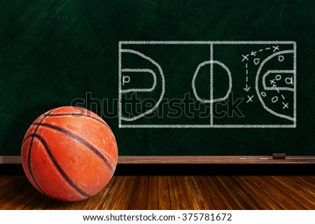 Rugged and seasoned basketball and play strategy drawn on a background chalk board with copy space. - stock photo