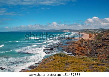 Rugged Coast and Blue Sky, Victoria, Australia - stock photo