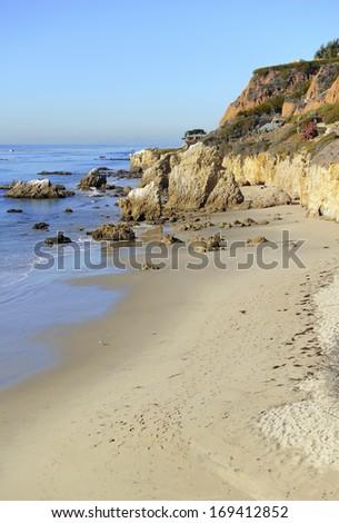 Rugged Coastline of El Matador Beach in Malibu, California, USA - stock photo