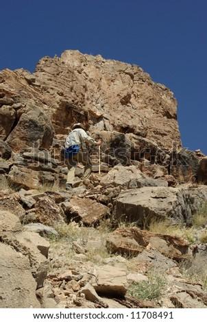 Rugged cross country hiking, Grand Canyon National Park, Arizona - stock photo