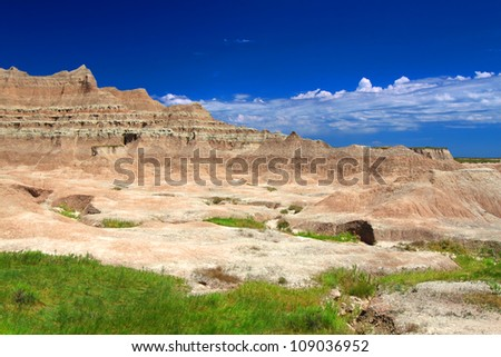 Rugged eroded peaks of Badands National Park in South Dakota - stock photo