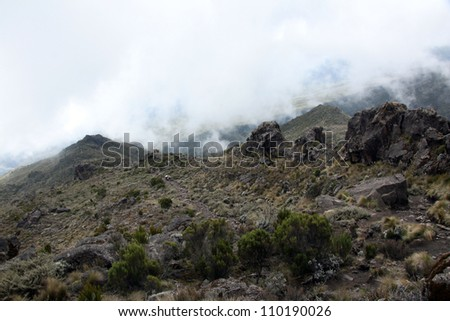 Rugged Landscape at Mt Kilimanjaro in Tanzania, Africa - stock photo