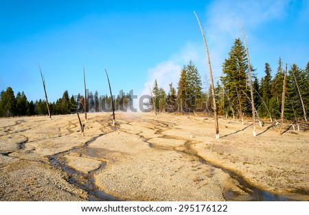 Rugged Landscape of Yellow Stone National Park - stock photo