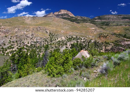 Rugged mountain scenery of the Bighorn National Forest in Wyoming - stock photo